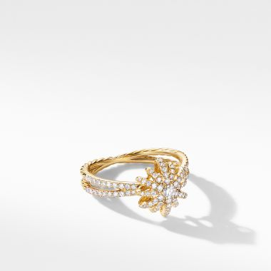 David Yurman Starbust Ring in 18K Yellow Gold with Pavé Diamonds